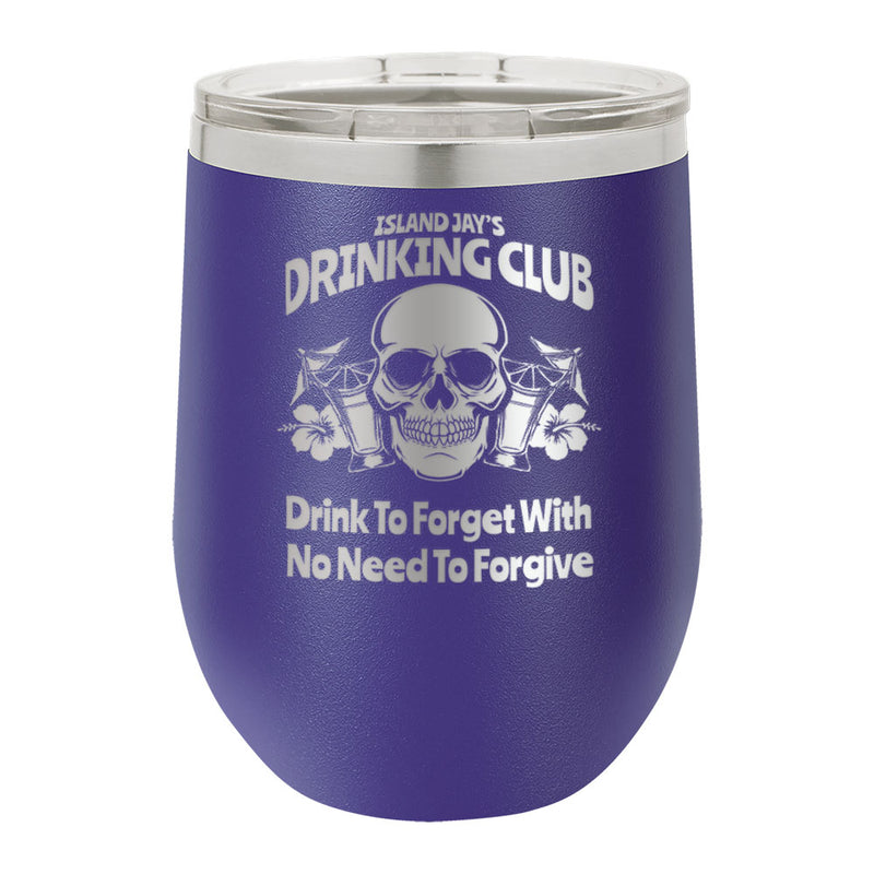 Island Jay's Drinking Club Laser Engraved Metal Stemless Wine Tumbler