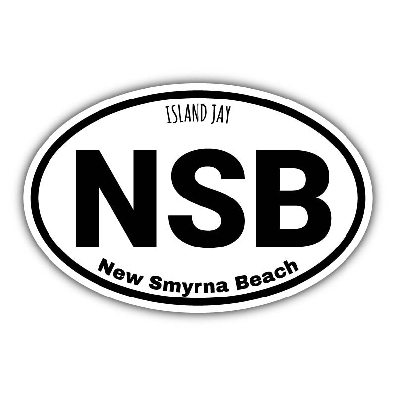 New Smyrna Beach Euro Die Cut Beach Sticker