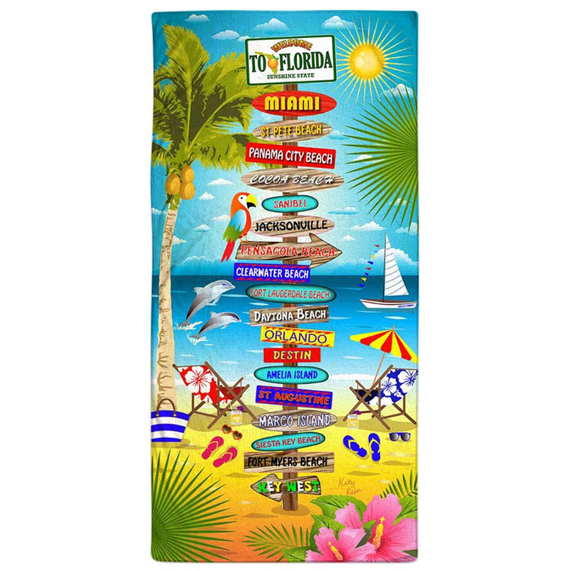 "Vacation Towel - Florida Beach Signs 30"" x 60"""