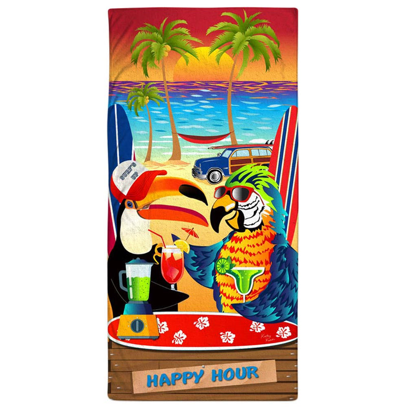 "Vacation Towel - Parrot Happy Hour 30"" x 60"""