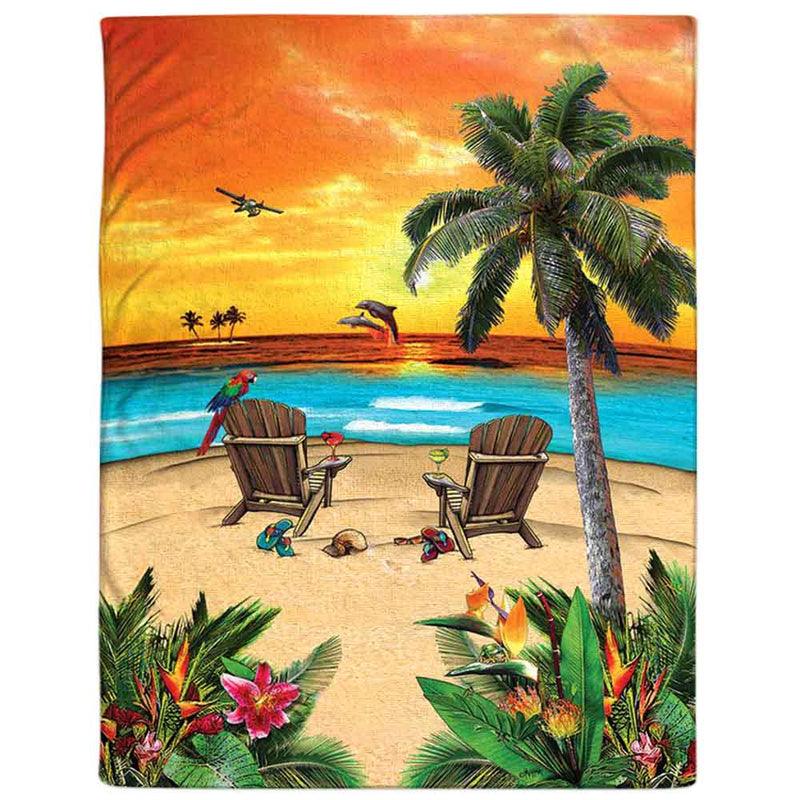"Beach Blanket Towel - Florida Island Sunset 54"" x 68"""
