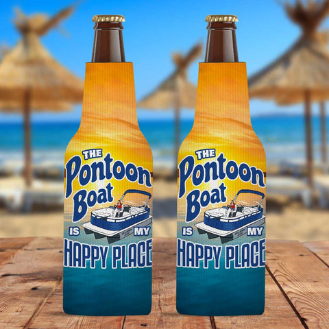 The Pontoon Boat Is My Happy Place Zippered Bottle Cooler Sleeve
