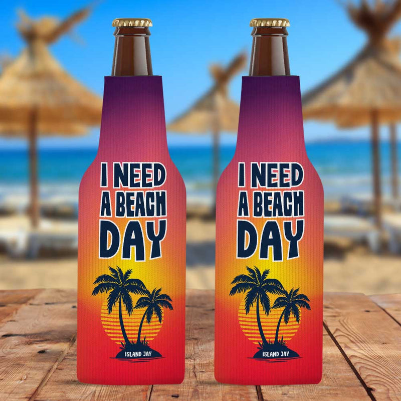 I Need A Beach day Zippered Bottle Cooler Sleeve