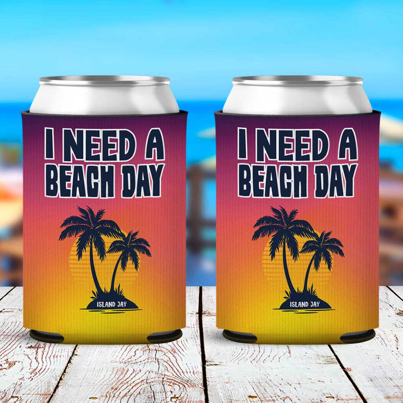 I Need A Beach Day Neoprene Drink Can Cooler Sleeve