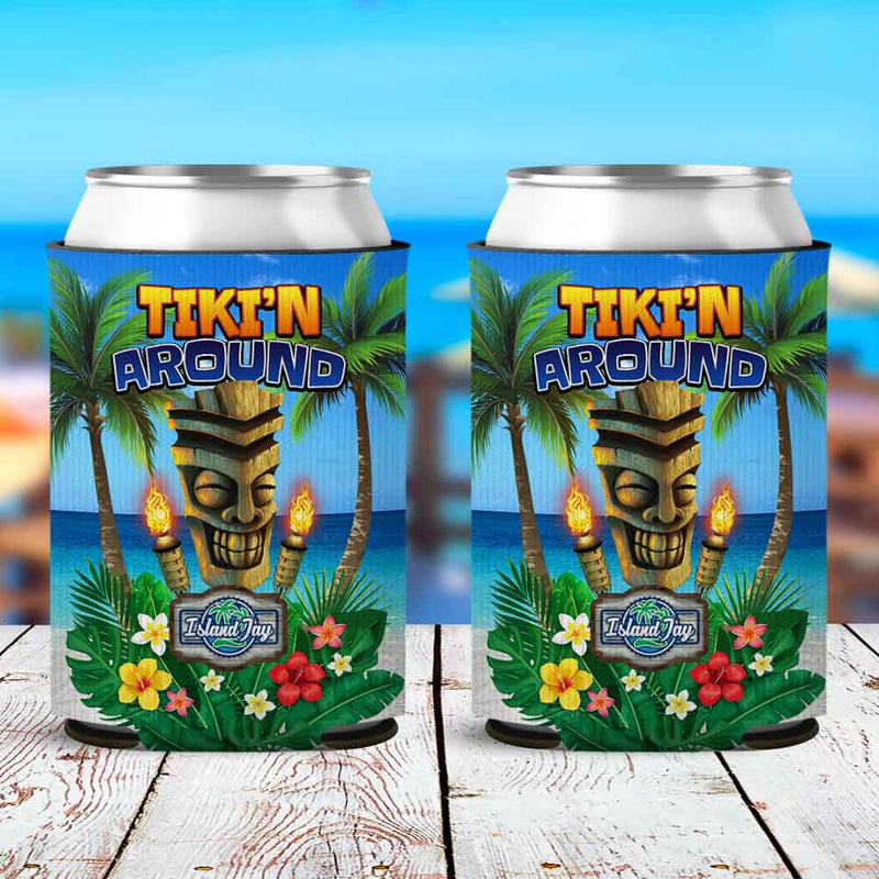 Tiki'n Around Neoprene Drink Can Cooler Sleeve