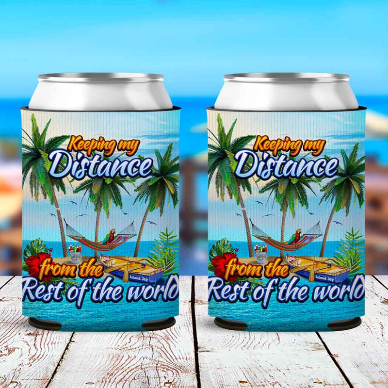 Keeping My Distance Island Escape Neoprene Drink Can Cooler Sleeve