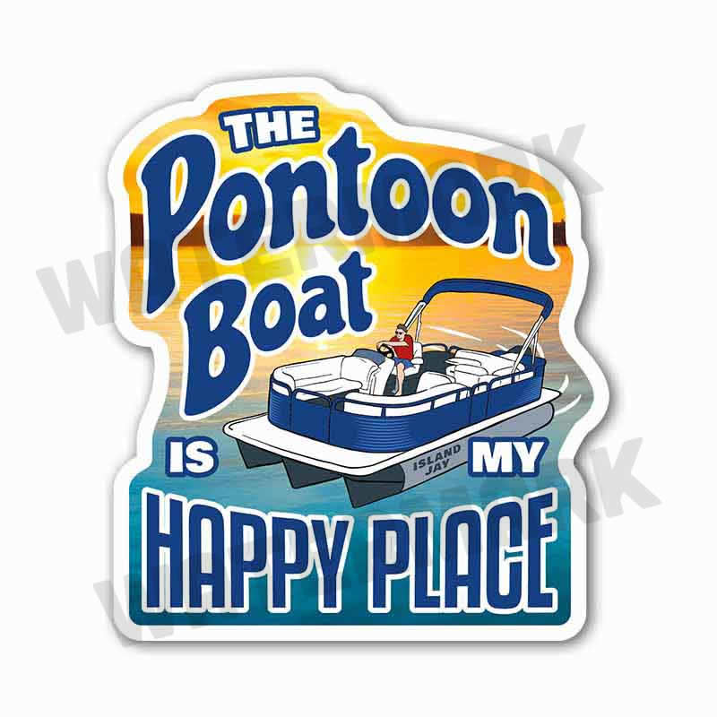 "The Pontoon Boat Is My Happy Place 6"" Beach Sticker"