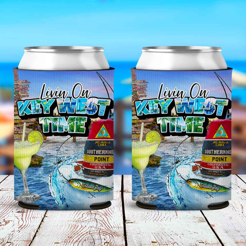 Livin On Key West Time Neoprene Drink Can Cooler Sleeve