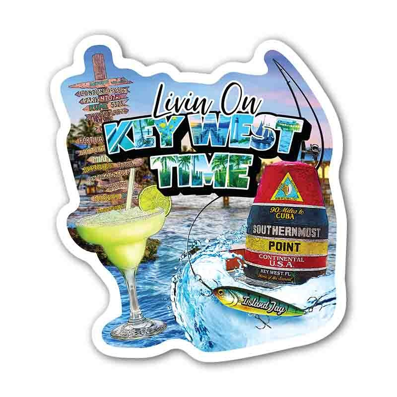 Livin on Key West Time Die Cut Beach Sticker