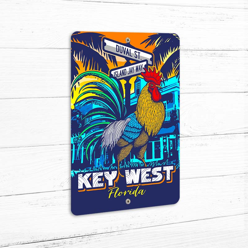 "Key West Rooster 8"" x 12"" Beach Sign"