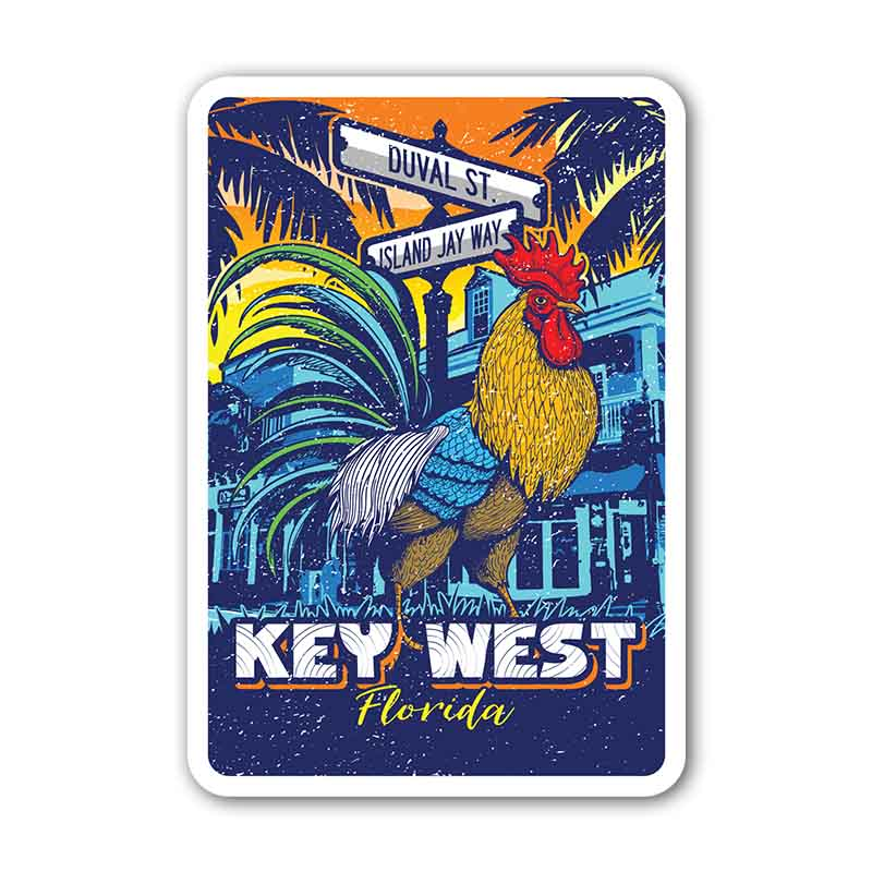 Key West Rooster Die Cut Beach Sticker