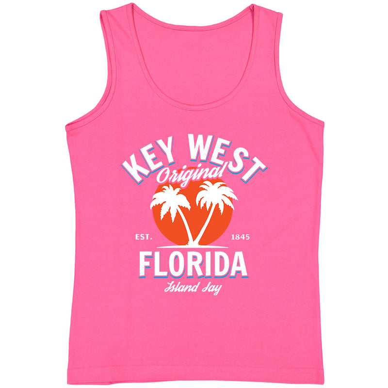 Ladies Key West Florida Original - Palm Tree Tank Top