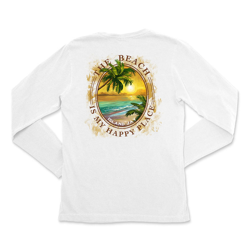 Women's The Beach Is My Happy Place Tropical Getaway Long Sleeve T-Shirt