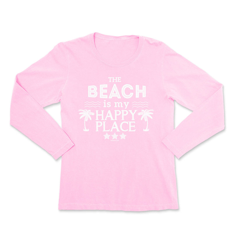 Ladies The Beach Is My Happy Place Long Sleeve T-Shirt