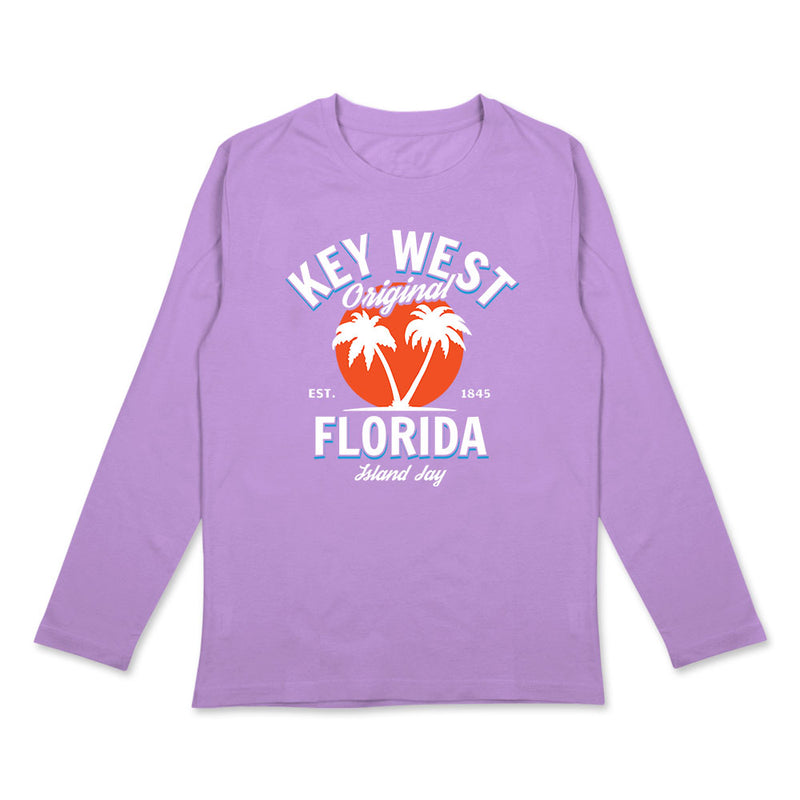 Ladies Key West Original - Palm Trees Long Sleeve T-Shirt