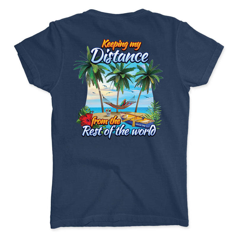 Ladies Keeping My Distance Island Escape V-Neck T-Shirt