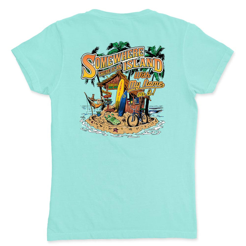 Ladies Somewhere There Is An Island V-Neck T-Shirt