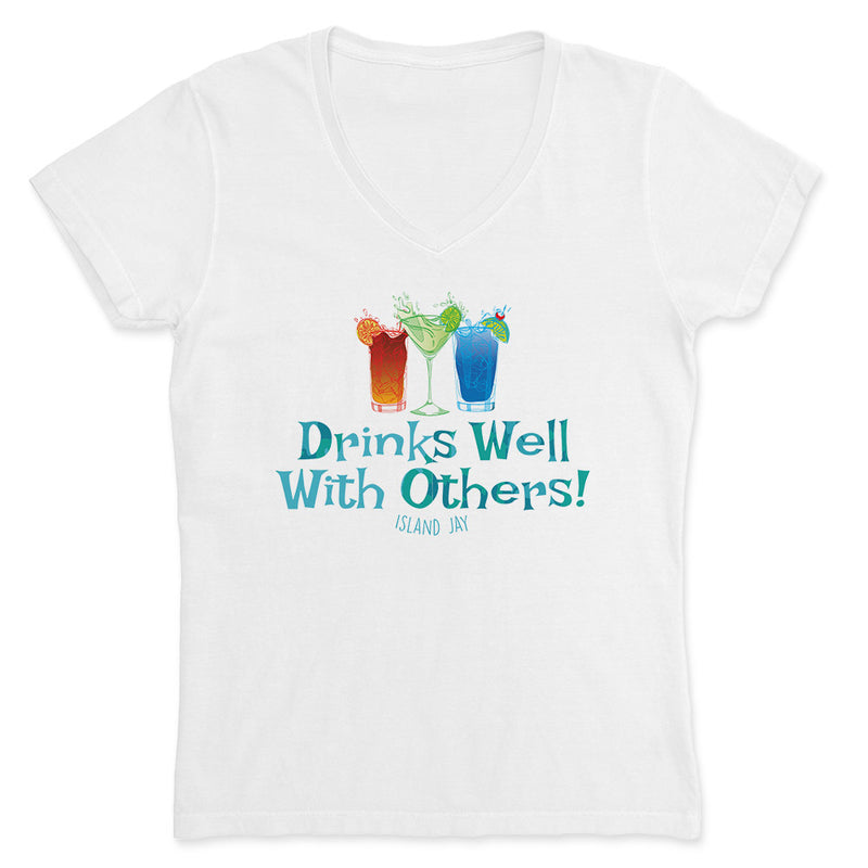 Ladies Drinks Well With Others V-Neck