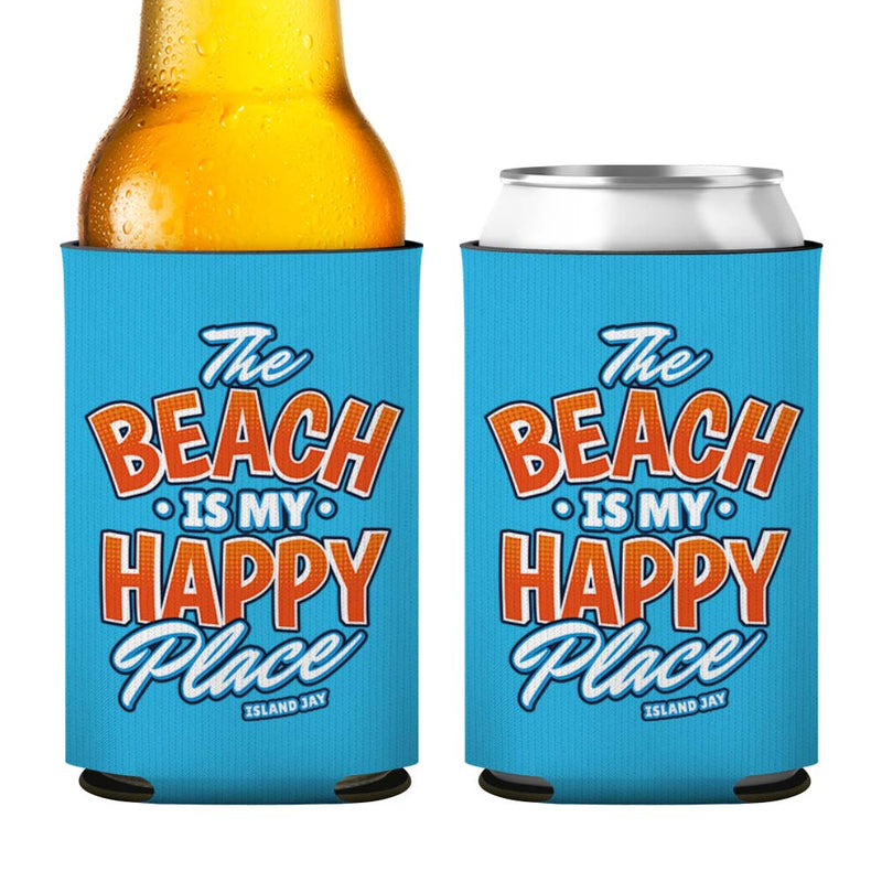 The Beach Is My Happy Place Island Style Neoprene Drink Cooler Sleeve