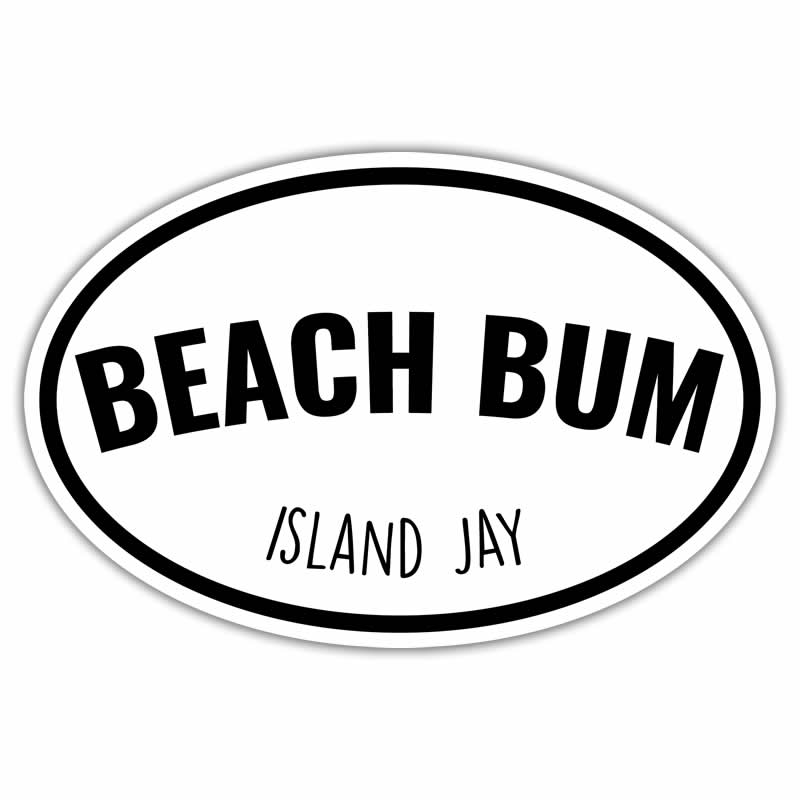 Beach Bum Euro Die Cut Beach Sticker