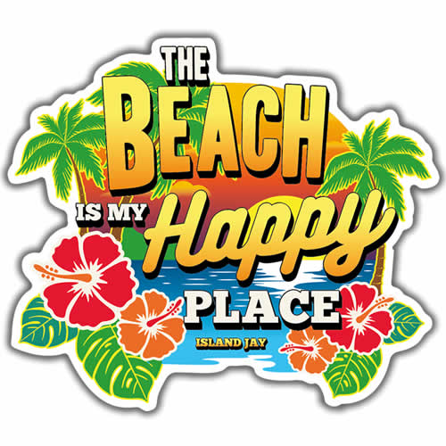 "The Beach Is My Happy Place Full Color 4"" Die Cut Beach Sticker"