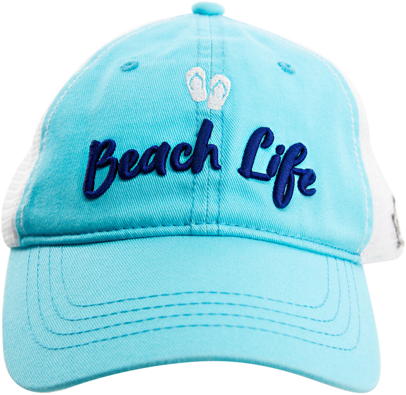 Beach Life Light Teal Adjustable Hat
