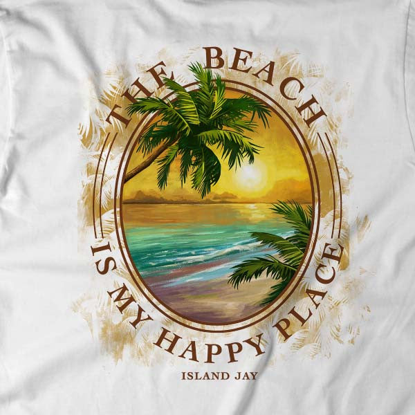 7398c203f2 Ladies The Beach is my Happy Place Tropical Getaway V-Neck T-Shirt