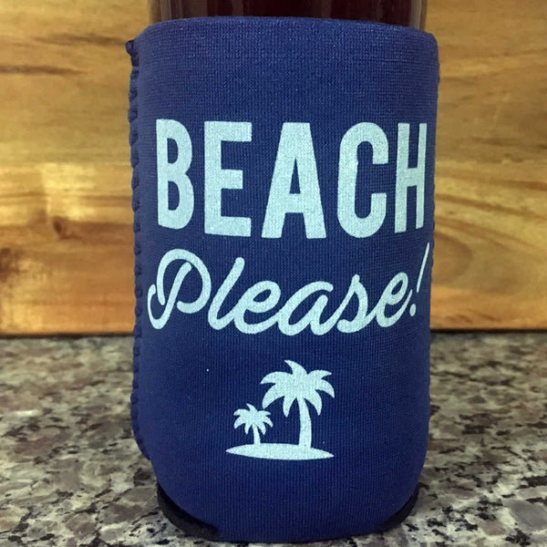 Beach Please Neoprene Drink Cooler Sleeve