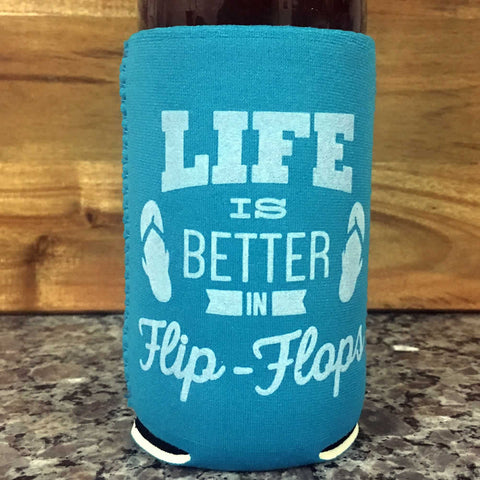 Life is Better in Flip Flops Neoprene Drink Cooler Sleeve