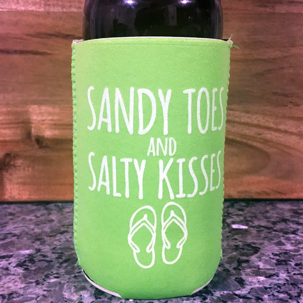 Sandy Toes & Salty Kisses Neoprene Drink Cooler Sleeve