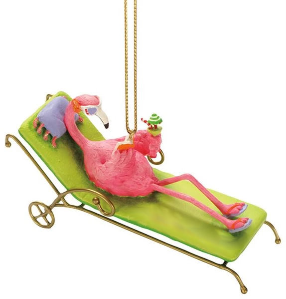 Cape Shore Flamingo Lounge Resin Ornament