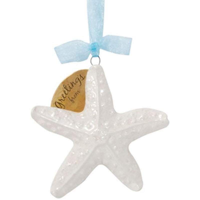 Cape Shore Ceramic Pearlized Starfish Ornament
