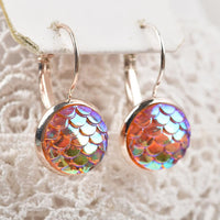 Mermaid Earrings - Dragon Scale Peach Rose Gold
