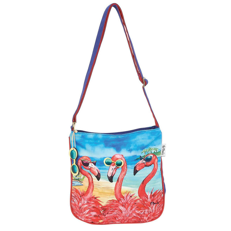 Flamingo Girlfriends Crossbody Beach Bag