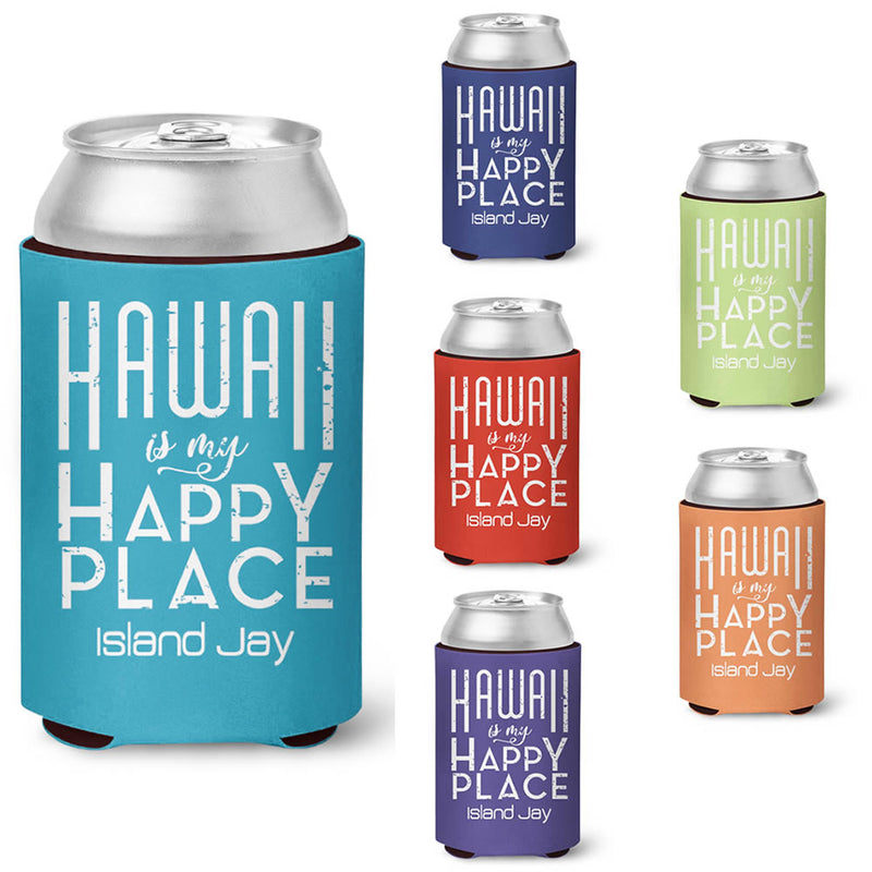 Hawaii is my Happy Place Neoprene Drink Cooler Sleeve