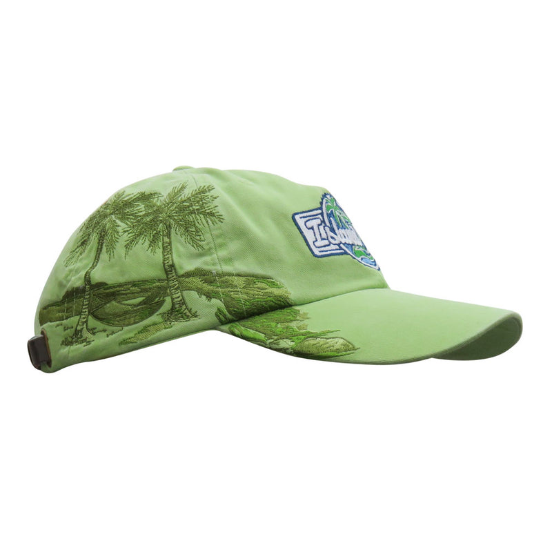 Island Jay Resort Palm Tree Embroidered Hat Key Lime