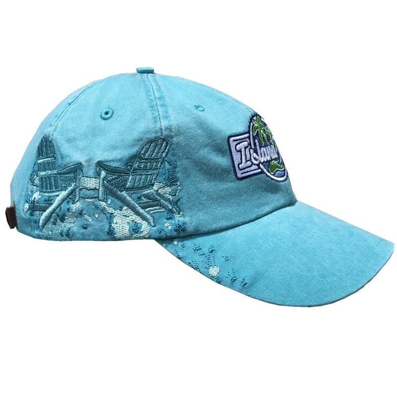 Island Jay Resort Adirondack Chairs Embroidered Hat Caribbean Blue