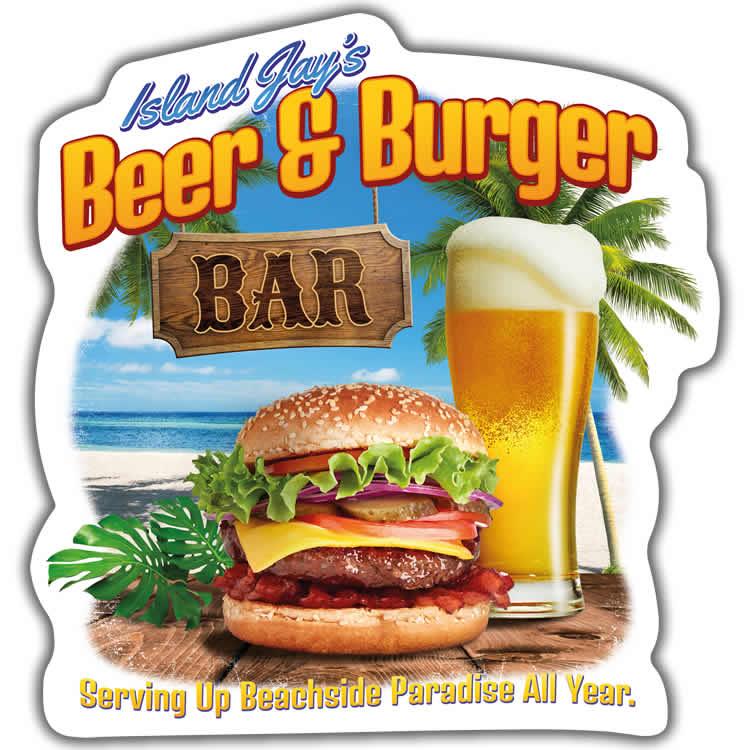 Island Jay's Beer & Burger Bar Die Cut Beach Sticker