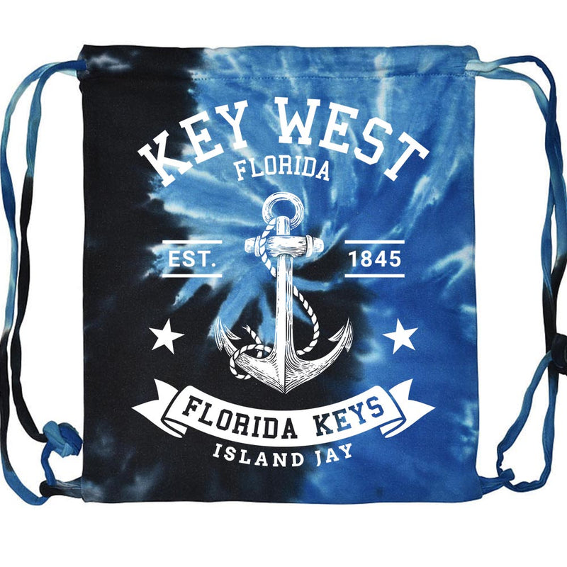 Key West Florida Original Anchor Tie Dye Drawstring Beach Bag
