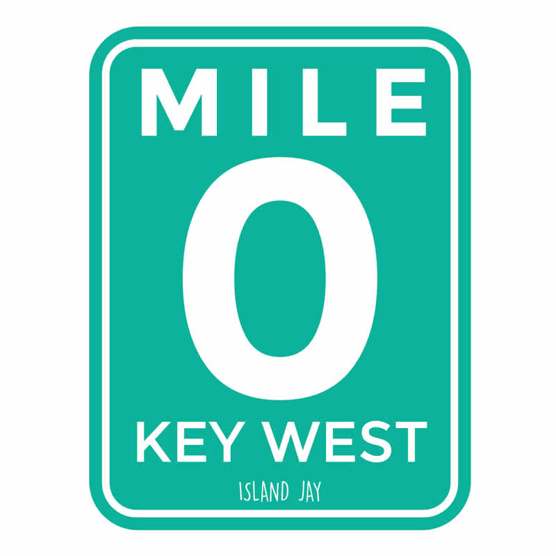 Key West Mile Marker 0 Die Cut Beach Sticker