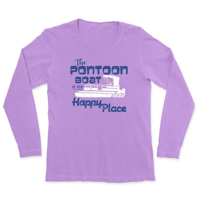 Ladies The Pontoon Boat Is My Happy Place Long Sleeve T-Shirt
