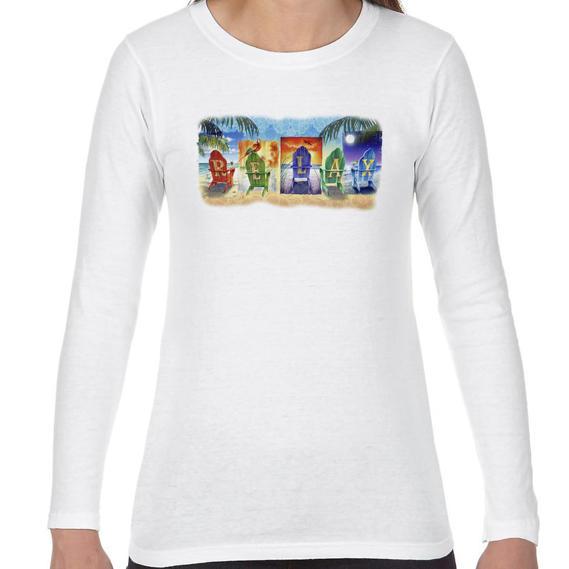 Ladies Relax at the Beach Long Sleeve T-Shirt