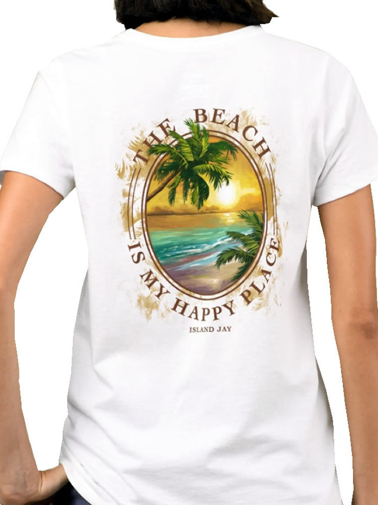 Ladies The Beach is my Happy Place Tropical Getaway T-Shirt