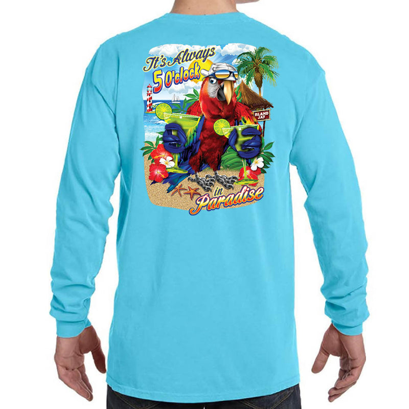 It's Always 5 O'Clock in Paradise Margarita Parrot Long Sleeve T-Shirt