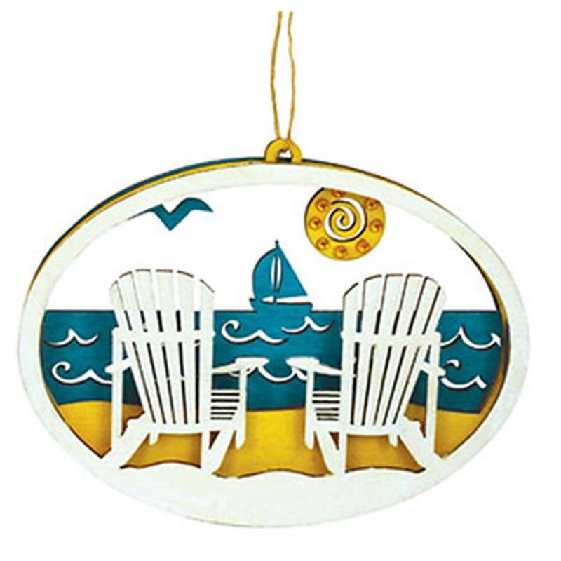 Cape Shore Beach Scene Adirondack Chairs Wood Ornament
