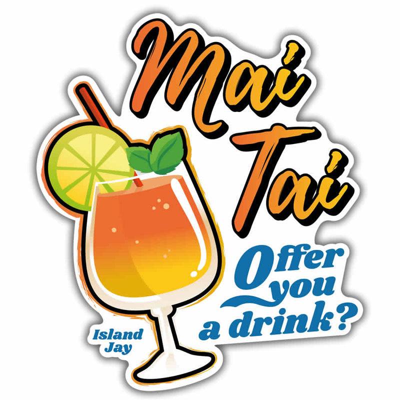 Mai Tai Offer You A Drink Beach Sticker