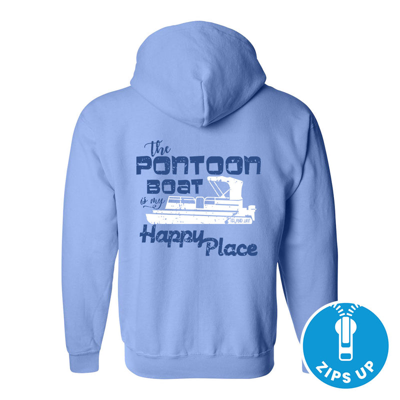 The Pontoon Boat Is My Happy Place Soft Style Full Zipper Hoodie