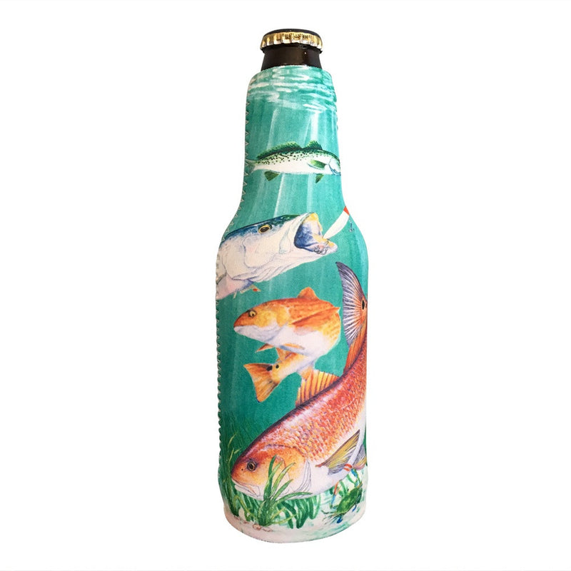 Redfish Zippered Beer Bottle Cooler Sleeve