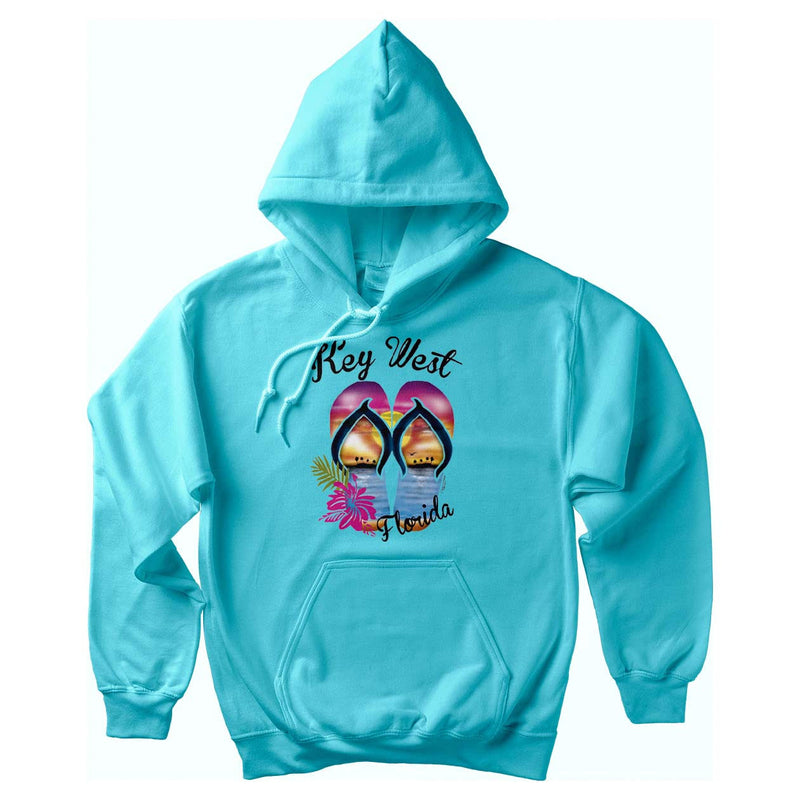 Key West Sunset Flip Flops Soft Style Pullover Hoodie