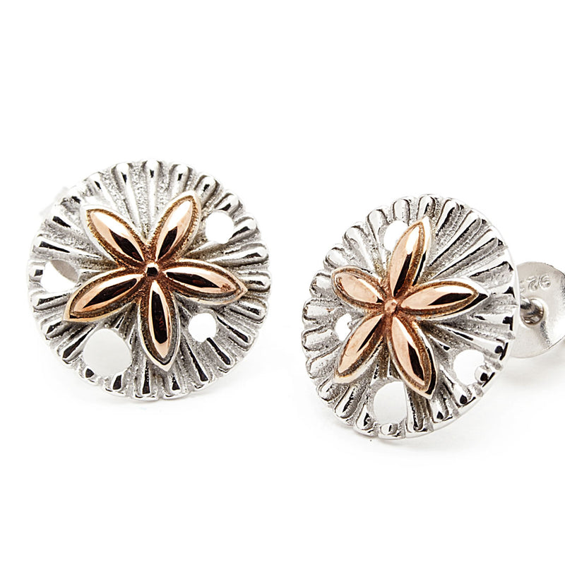 Island Trinketz Sand Dollar Rose Gold Earrings